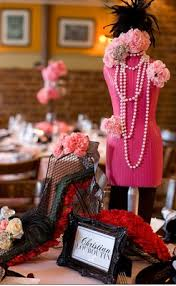 themed centerpieces black white pink fashion themed bridal shower inside weddings