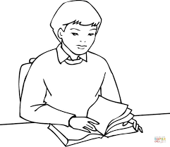 boy student reading book coloring free printable