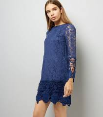 blue lace dress mela navy lace sleeve dress new look