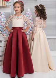 2018 lace satin girls pageant dresses 3 4 long sleeves dark red