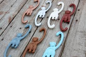 Monkey Hook by Hanging Monkey Pick Your Color Cast Iron Hook For Hanging