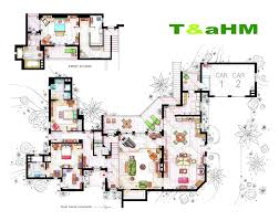 popular floor plans hand drawn floor plans of popular tv shows two and a half men