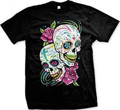 amazon com sugar skulls with roses s t shirt black large