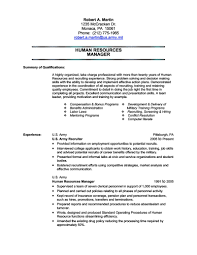 Hr Resume Templates Resume Examples For Military