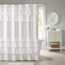 Gray Ruffle Shower Curtain Buy White Ruffled Shower Curtain From Bed Bath U0026 Beyond