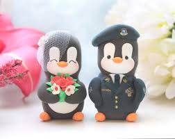 wedding cake toppers military penguins us air force uniform