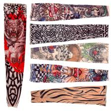 6 x rock fake tattoo arms legs stockings sleeves stretch