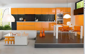 orange white italian modern kitchen design with stylish dining set