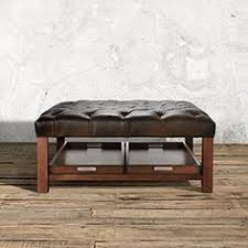 Ottomans With Trays Restoration Hardware 48 Rectangular Leather Ottoman Used