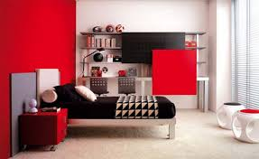 Red Color Combination Bedroom Decoration Photo Minimalis Red Color Design Prepossessing