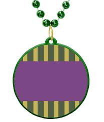 customized mardi gras custom mardi gras bead medallion with a stripes badge theme in mardi