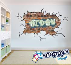 brick wall graffiti name style and color scheme wall decal zoom