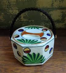 vintage japanese biscuit jar with lid and wood handle ceramic
