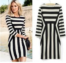 cheap versatile half sleeve slim striped monochrome bodycon dress