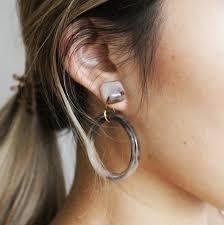 earrings all the way up hoop two way earrings in beige or black piurra boutique