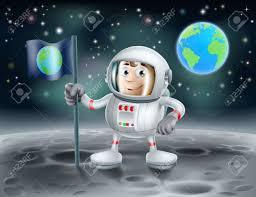 Moon Flag From Earth An Illustration Of A Cute Cartoon Astronaut On The Moon Planting