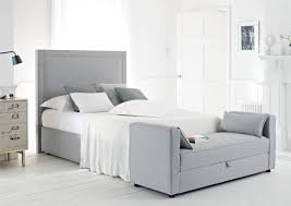 contemporary bedroom with grey simple headboards color closed soft