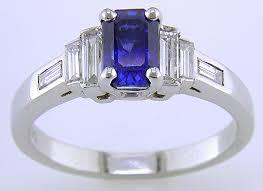 sapphire and diamond art deco style platinum ring bijoux