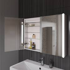 illuminated bathroom mirror cabinet with shaver socket benevola