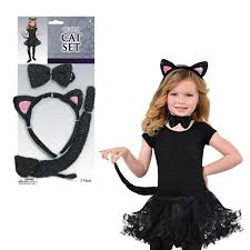 Black Cat Halloween Costume Kids Childrens Black Cat Ears Tail Bow Tie Girls Fancy Dress
