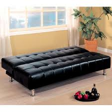 Faux Leather Sofa Sleeper Furniture Black Faux Leather Armless Sofa Bed With Chrome Metal