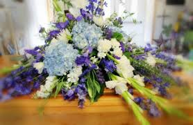casket sprays hydrangea blue casket spray casket spray in burns or 4b nursery