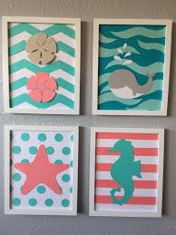Girls Nautical Bedroom Sea Nursery Art Beach Themed Framed Set Of 4 8x10 Handmade Baby