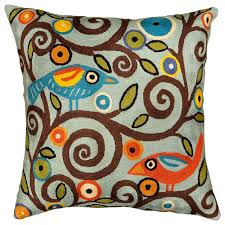 Cusion Cover Klimt Tree Of Life Birds Blue Throw Pillow Cover Hand Embroidered