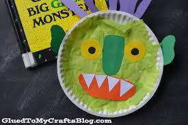 paper plate green monster kid craft