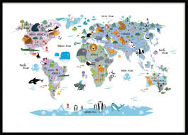 Kids World Map by Children U0027s Poster With A World Map Posters For Kids