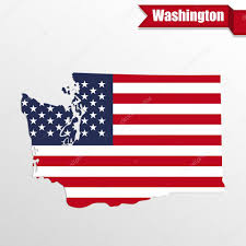 Washington State Detailed Map Stock by Washington State Map With Us Flag Inside And Ribbon U2014 Stock Vector