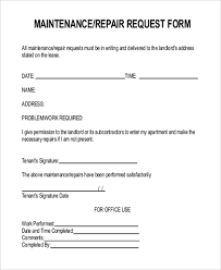 Maintenance Request Form Template by Repair Request Form Maintenance Repair Request Form Sle