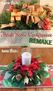 the craft patch thrift store christmas centerpiece remake