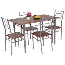 costway 5 piece dining set wood metal table and 4 chairs kitchen