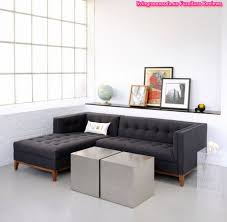 Apartment Sectional Sofa Black Fabric Apartment Sectional Sofa L Shaped With Tufted Chaise