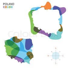 abstract vector color map of poland with transparent paint effect