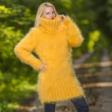 yellow sweater dress sweaters knitted turtleneck mohair sweater dress in yellow