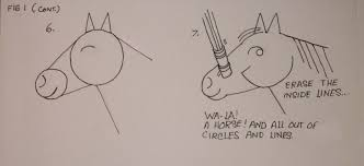 draw a horse u0027s head with lines and circles
