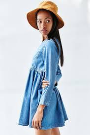 bdg blue jean babydoll dress in blue lyst