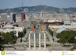 barcelona city view barcelona city view from national palace editorial stock photo