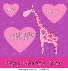 s day giraffe valentines day card pink giraffe pink stock vector 550804417