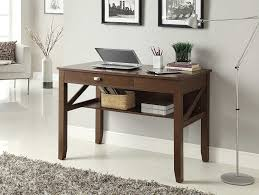 furniture writing desk with brown wooden floor and white brick