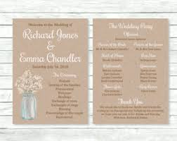 jar wedding programs rustic program etsy