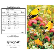 two table progressive tally goldfinch bridge tally sheets playing cards accessory
