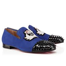 christian louboutin harvanana back spikes suede mens loafers flat