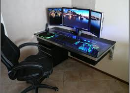Dual Monitor Gaming Desk Desk Pc Built Into Desk Amazing Computer Built Into Desk Brave