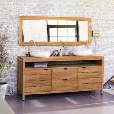 Teak Bathroom Vanity by Interior Bathroom Decoration Using White Stone Brick Bathroom