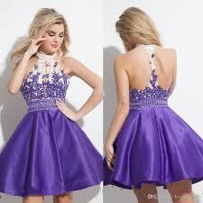 fashion homecoming short prom dresses halter neck pearls elegant