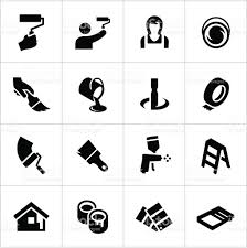 Painting Icon Black Painting Icons Stock Vector Art 166007409 Istock