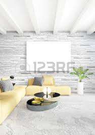 livingroom in yellow loft bedroom or livingroom in modern style interior design